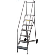 P.W. Platforms 7 Step Steel Rolling Roll-A-Fold Ladder, Serrated Steps - PWRF107G