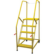 P.W. Platforms 5 Step Steel Rolling Truck Maintenance Ladder, Perforated Step, Yellow - TMP5SH30