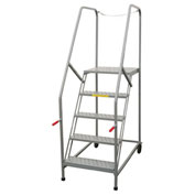 "P.W. Platforms 7 Step Steel Rolling Truck Maintenance Ladder, 24"" Step Width - TMP7SH30G"