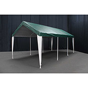 King Canopy™ HC1020PCGW Hercules 8 Leg Canopy 10'L x 20'W Green with White Leg Skirts
