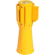 ConePro 500 Yellow Traffic Cone Mount Retracting Belt Barrier, 10' Yellow/Reflective Stripe Belt