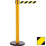 Yellow Post Safety Barrier, 16 Ft., Yellow/Black Diagonal Stripe Belt - Pkg Qty 2