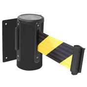 Wall Mounted Retracting Belt Barrier, 10'L Yellow/Black Belt, WM300B-YB100