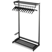 "Quartet® 48""W Garment Floor Rack w/ 12-Hangers, Black, 2-Shelf"