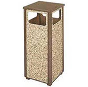 "Rubbermaid® FGR12 Aspen 12 Gallon Flat Top Waste Receptacle, Brown, 13-1/2"" Sq. x 32"" H"
