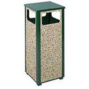 "Flat Top Waste Receptacle, Green/Brown, 12 gal capacity, 13.5""Sq x 32""H"
