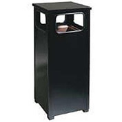 "Flat Top Waste Receptacle, Black, 12 gal capacity, 13.5""Sq x 32""H"