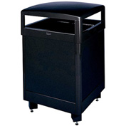 "Hinged Top Urn And Waste Receptacle, Black, 38 gal., 26""Sq x 43""H"