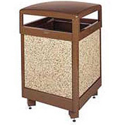 """Rubbermaid® FGR38HT Aspen 38 Gallon Hinged Top Garbage Can, Brown, 26"""" Sq. x 40"""" H"""
