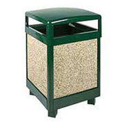 "Rubbermaid® FGR38HT Aspen 38 Gallon Hinged Top Garbage Can, Green/Brown, 26"" Sq. x 40"" H"