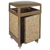 "Rubbermaid® FGR38SD Aspen 38 Gallon Hinged Top Garbage Can w/Side Door, Brown, 26"" Sq. x 40"" H"