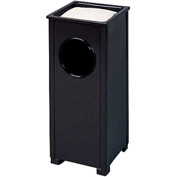 "Sand Top Urn And Trash Container, Black, 2.5 gal., 10""Sq x 24""H"