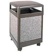 "Rubbermaid® FGR48HT Aspen 48 Gallon Hinged Top Trash Container, Bronze/Gray, 26"" Sq. x 40"" H"
