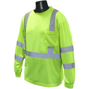 Radians® ST21 Class 3 Long Sleeve Safety T-Shirt W/ Max-Dri™, Hi-Vis Green, XL - Pkg Qty 12