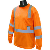 Radians® ST21 Class 3 Long Sleeve Safety T-Shirt W/ Max-Dri™, Hi-Vis Orange, 5XL - Pkg Qty 12