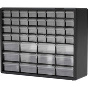 "Akro-Mils Plastic Drawer Parts Cabinet 10144 - 20""W x 6-3/8""D x 15-13/16""H, Black, 44 Drawers"