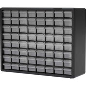 "Akro-Mils Plastic Drawer Parts Cabinet 10164 - 20""W x 6-3/8""D x 15-13/16""H, Black, 64 Drawers"