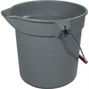 "Rubbermaid® Brute 10 Qt. Round Plastic Utitilty Bucket 10-1/2"" Dia x 10-1/4""H, Gray-RCP296300GY - Pkg Qty 12"