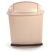 Rubbermaid® 14-1/2 Gallon Fire-Safe Plastic Oval Pedal Rolltop Receptacle, Beige - RCP617700BG