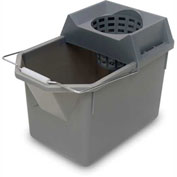 Rubbermaid 6194 Plastic Pail & Mop Strainer Combo w/Steel Handle, 15 Qt. Gray Package Count 6