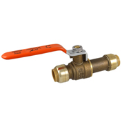 SharkBite 24735LF Ball Valve, Brass, Push-Fit, 1/2 in, 200 psi - Pkg Qty 6