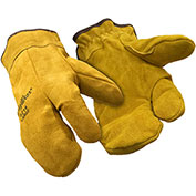 3-Finger Leather Mitt, Gold - Large