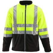RefrigiWear HiVis Insulated Softshell Jacket, Black/Lime, Class 2, -10°F Comfort Rating, 5XL