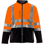 RefrigiWear HiVis Insulated Softshell Jacket, Black/Orange, Class 2, -10°F Comfort Rating, XL