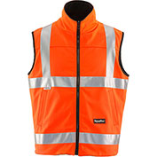 RefrigiWear HiVis Reversible Softshell Vest, Orange/Black, Class 2, 20° Comfort Rating, L