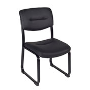 Regency Bonded Leather Armless Side Chair - Black