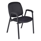 Regency Fabric Stack Chair with Arms - Black