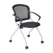 Regency Mesh Back Nesting Chair with Casters - Black
