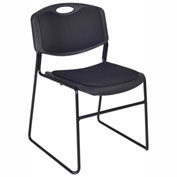 Regency Plastic Stack Chair with Padded Seat and Back - 400 lb. Capacity - Black