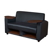 Regency Collaboration Lounge Love Seat with Dual Tablet Arms - Black