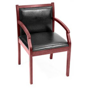 Regent Wood and Vinyl Side Chair - Mahogany/Black Vinyl