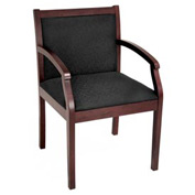 Regent Wood and Fabric Side Chair - Mahogany/Black