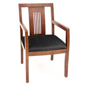 Preston Transitional Wood Back Side Chair - Cherry/Black
