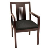 Preston Transitional Wood Back Side Chair - Mahogany/Black