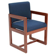 Regency Sled Base Side Chair with Arms - Blue/Cherry - Belcino Series