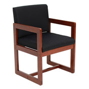 Regency Sled Base Side Chair with Arms - Black/Cherry - Belcino Series