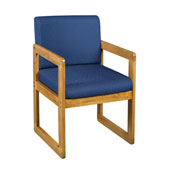Regency Sled Base Side Chair with Arms - Blue/Medium Oak - Belcino Series