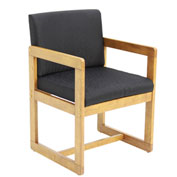 Regency Sled Base Side Chair with Arms - Black/Medium Oak - Belcino Series