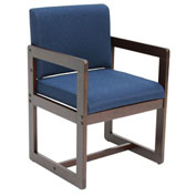 Regency Sled Base Side Chair with Arms - Blue/Mocha Walnut - Belcino Series