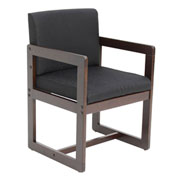 Regency Sled Base Side Chair with Arms - Black/Mocha Walnut - Belcino Series