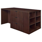 Regency Stand Up Lateral File - 3 Desk Quad with Bookcase End - Java - Legacy Series