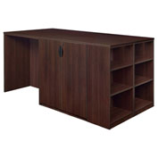 Regency Stand Up Storage Cabinet - 3 Desk Quad with Bookcase End - Java - Legacy Series