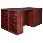 Regency Stand Up Desk - 3 Storage Cabinet Quad with Bookcase End - Mahogany - Legacy Series