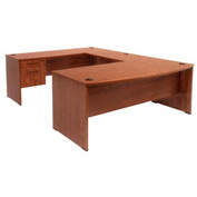 Bow Front U-Shaped Desk - Cherry
