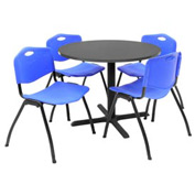 "Regency Table and Chair Set - 36"" Round - Mocha Walnut Table / Blue Plastic Chairs"