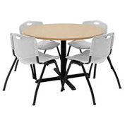 "42"" Round Table with Plastic Chairs - Beige Table / Gray Chairs"